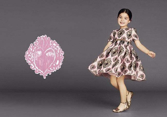 Dolce & Gabbana 2015 SS Pink Silk Organza Sacred Heart Dress
