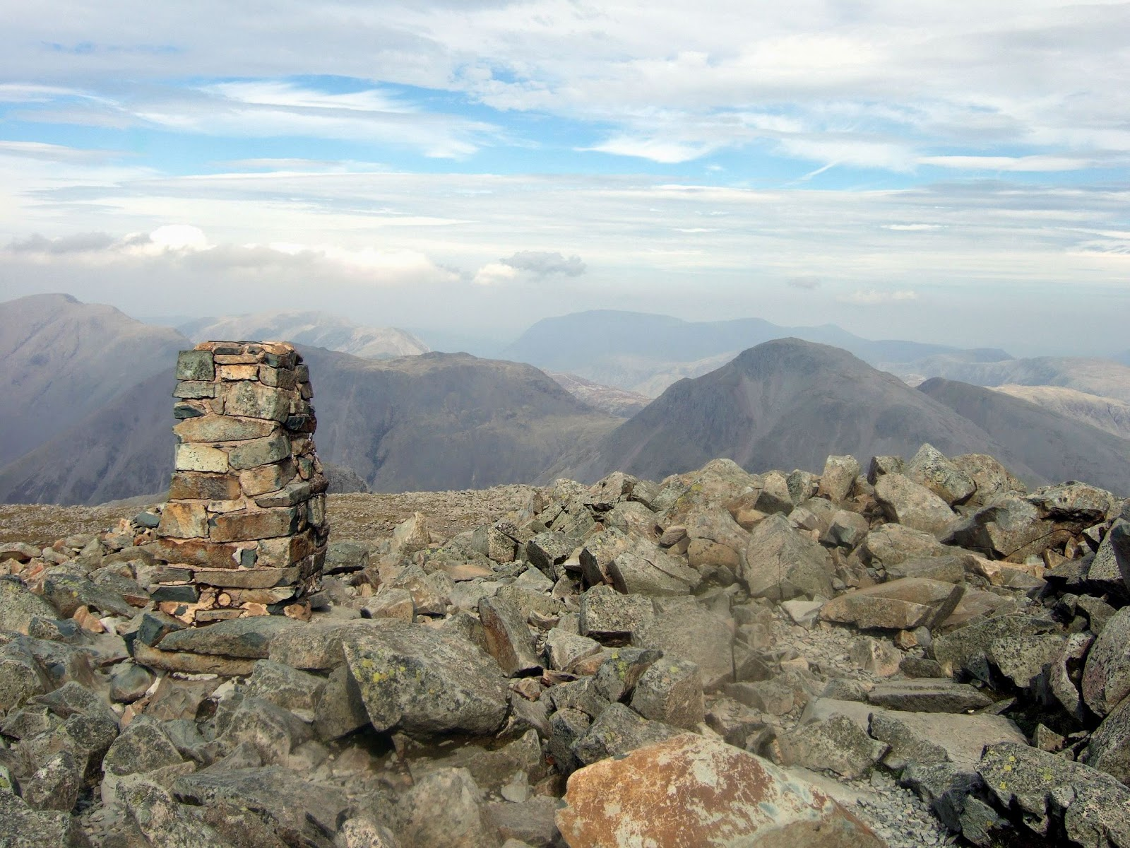 summit of scafell pike with great gable
