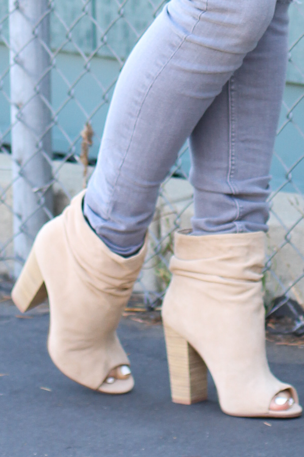 tan suede peep toe booties