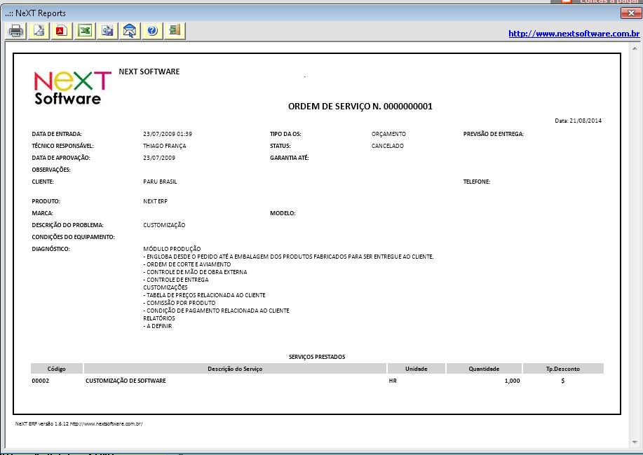 NeXT ERP 1612 ordem de serviço Web ERP