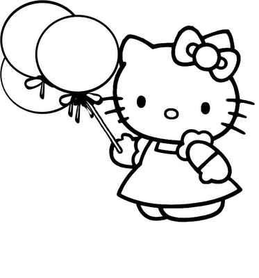 coloring pages for kids hello kitty. ballons hello kitty coloring
