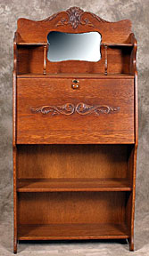 Antique Oak Secretary Desk With Bookcase