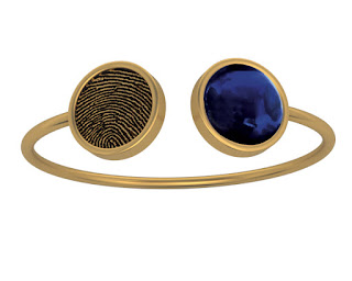 Fingerprint and Cabochon Bangle Bracelet in 14k Yellow Gold