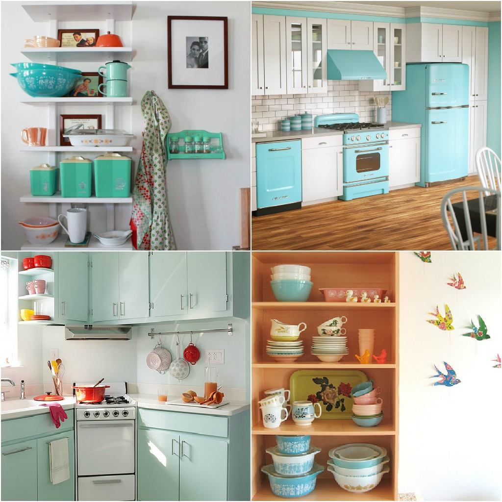 Pyrex art for a retro kitchen dans le lakehouse - Mueble cocina vintage ...