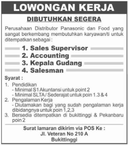 Distributor Panasonic (Bukittinggi) ~ Akses Kerja