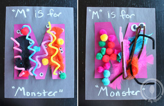 Toddler/Preshooler letter of the week craft M is for Monster with related craft, tracing sheets and fruits/vegetables.