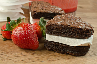 Brownie Marshmallow Sandwich with Strawberry Syrup