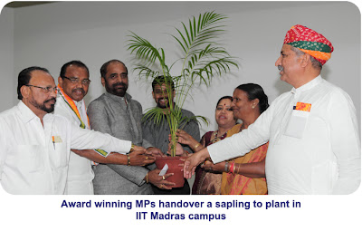 Sansad Ratna Award 2013 winning MPs handover a sapling to be planted inside IIT Madras campus