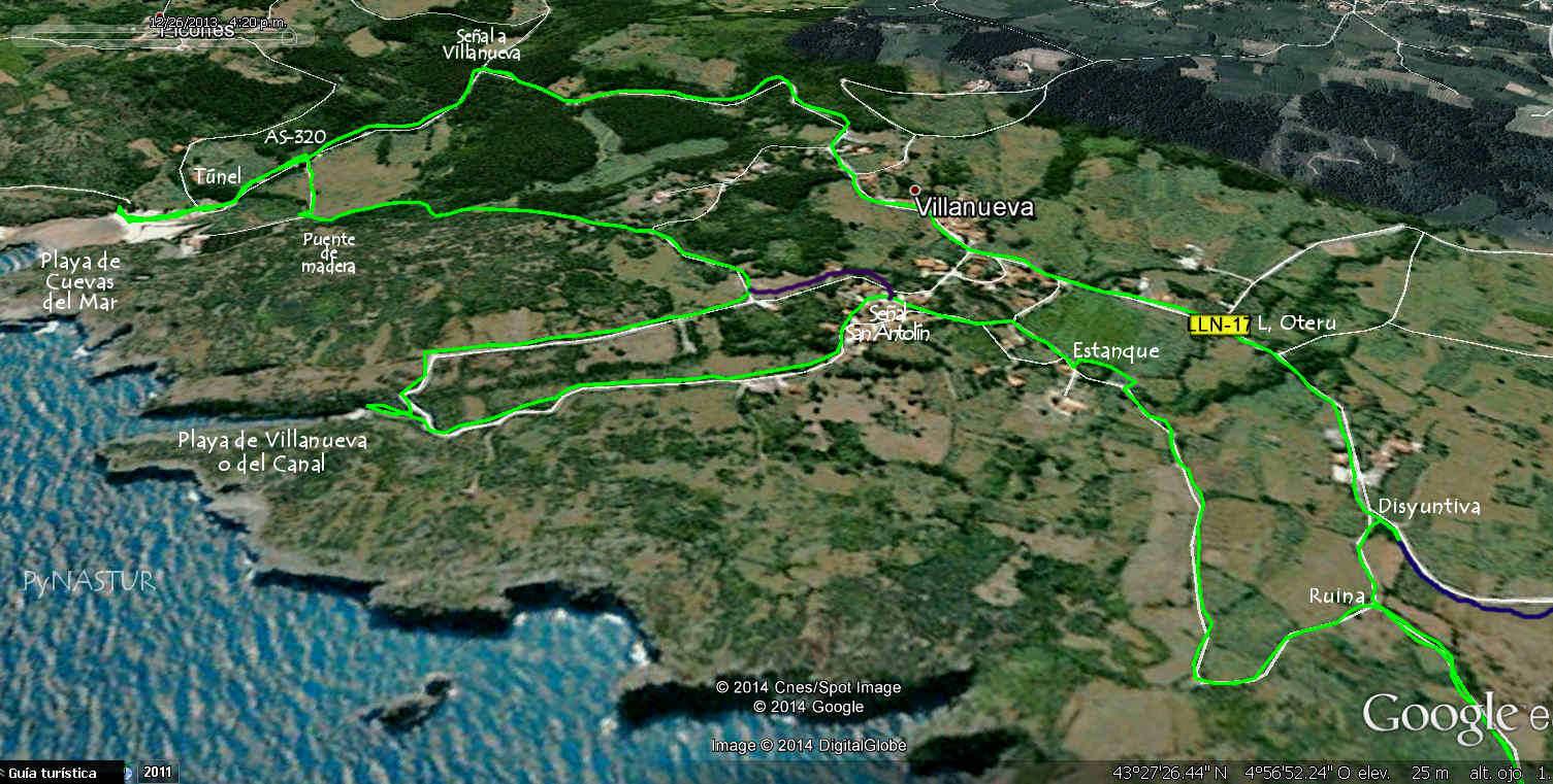 Mapa 3 - Senda Costera Bufones de Pría - Playa Cuevas del Mar - Llanes