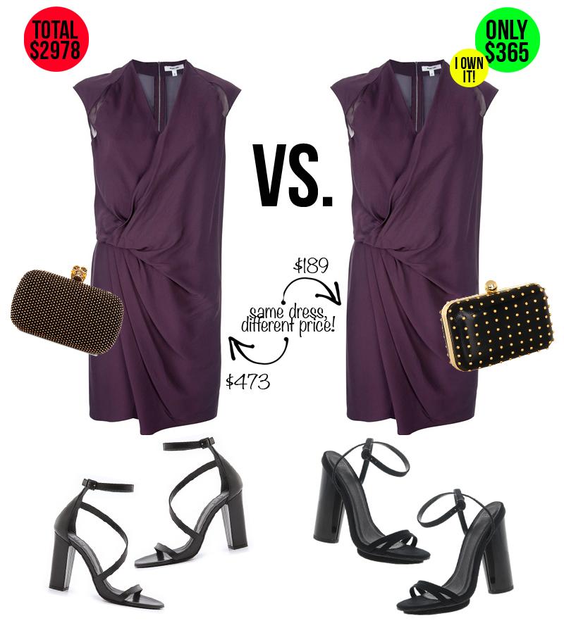 Helmut Lang purple draped wrap dress, Alexander McQueen clutch, Tibi, Asos, Nieman Marcus dress