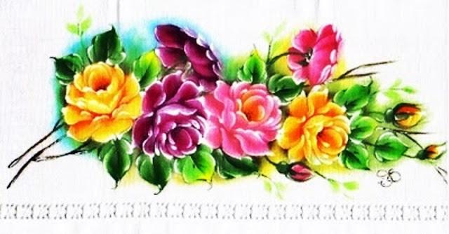 pintura em tecido ramo de rosas pano de prato