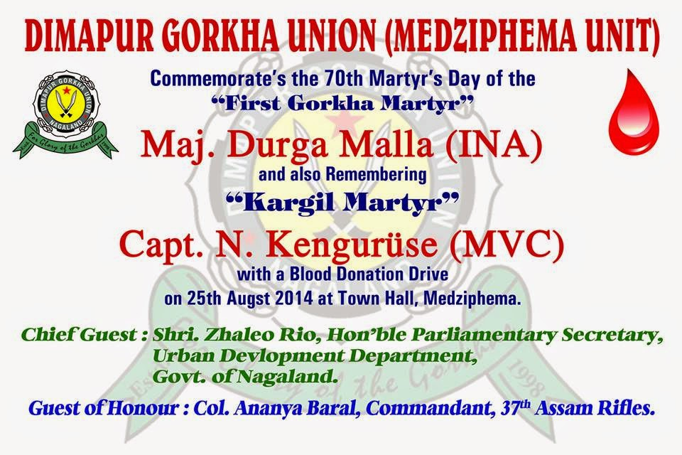 Dimapur Gorkha Union Commemorates the 70th Martyrs Day of the First Gorkha Martyr Major Durga Malla.