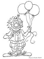 Mewarnai Badut Membawa Balon Pesta