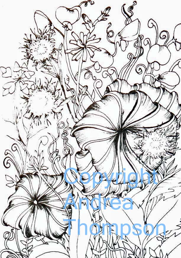 FallingLadies: coloring book pages of Unruly Flowers
