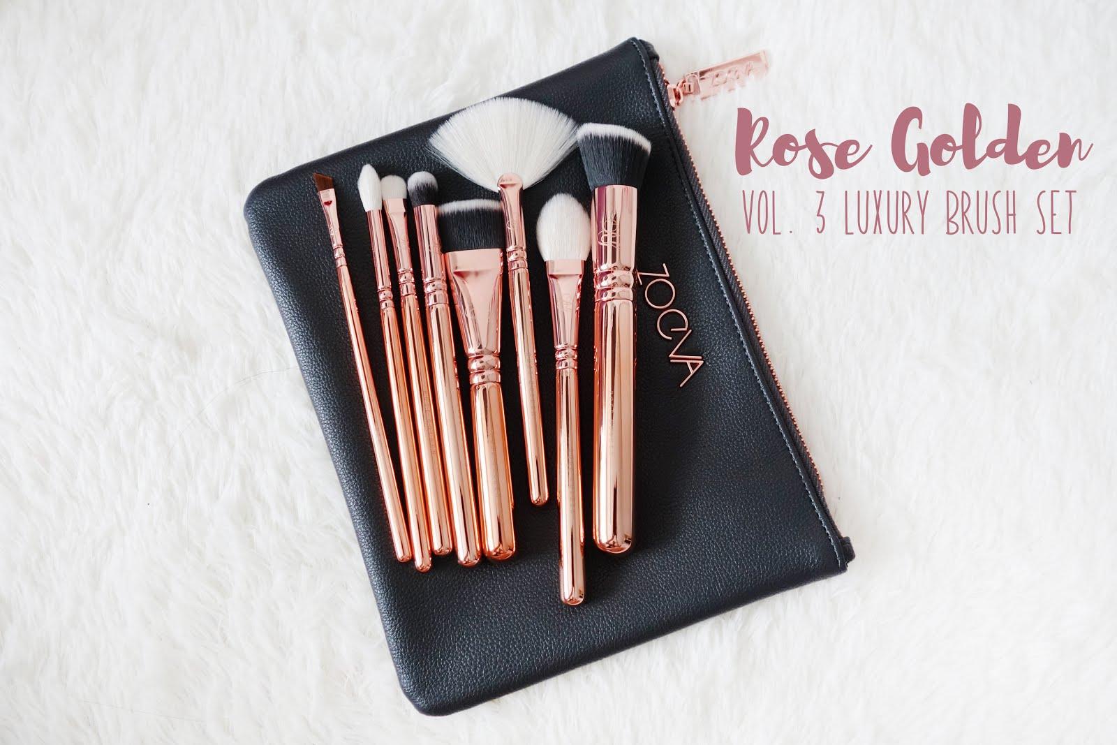 Zoeva Rose Golden Vol 3 Luxury Brush Set Blush Dark Brown 8 Piece Bursh Bag Palette