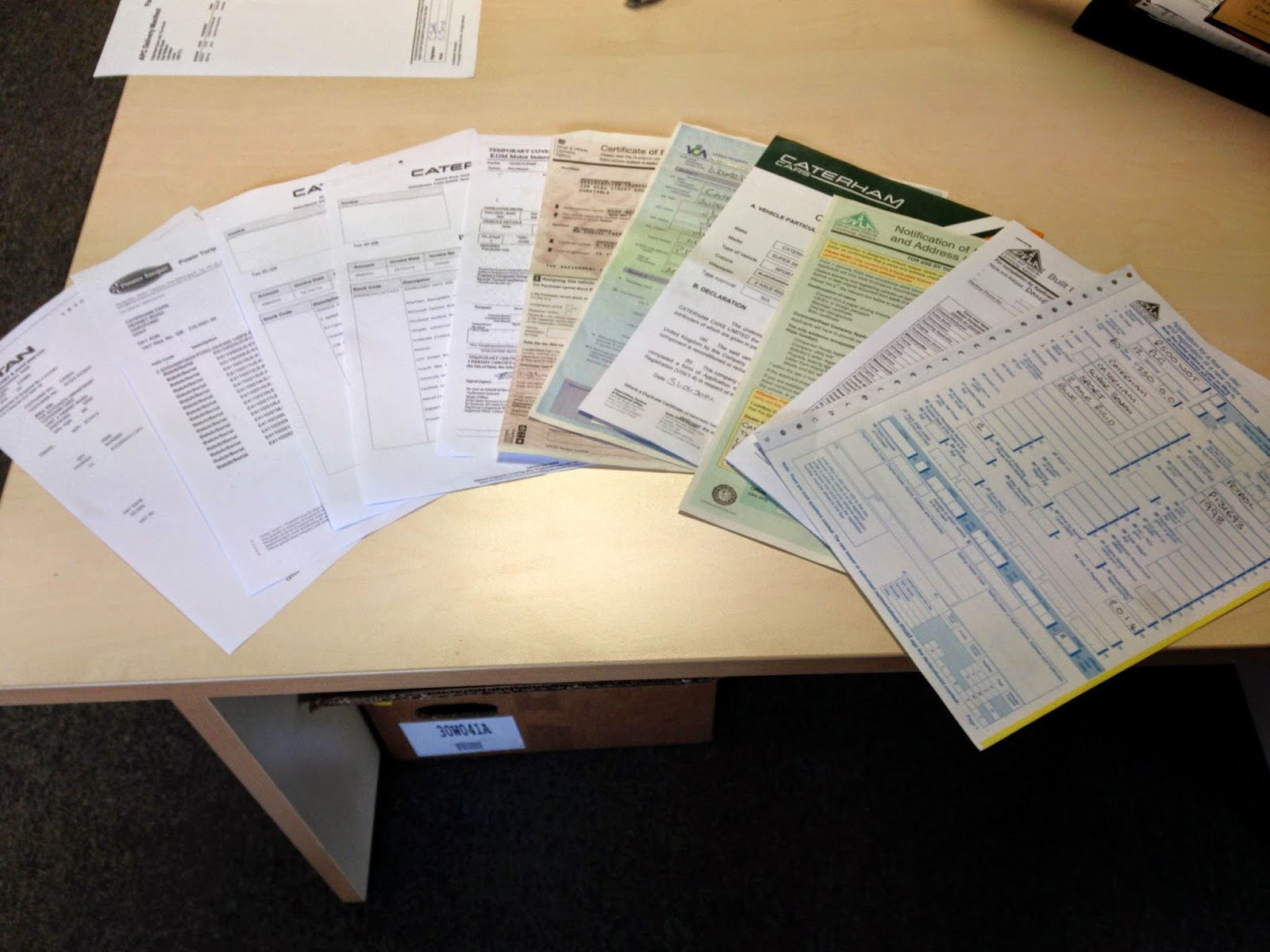 The vast number of written documents that need to be sent to the DVLA to get a V5