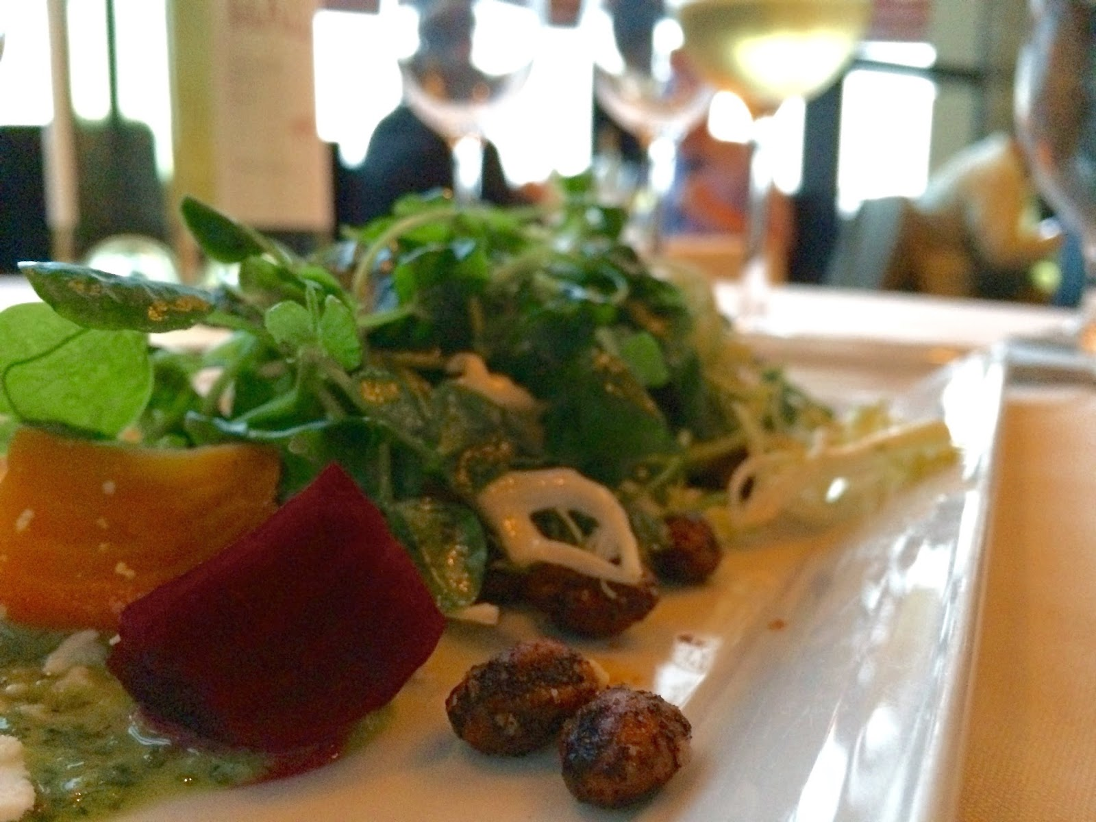 Baby Beet Salad with Frisée, Salata Ricotta, and Meyer Lemon Paired with the Walt La Brisa Sonoma Chardonnay 2012