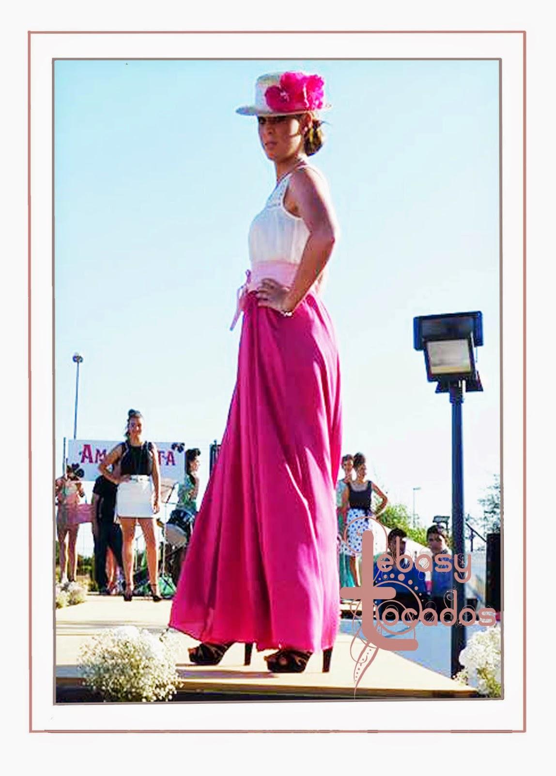 Canotier de Lebasy Tocados realizado para este look de Amaranta en Manzanares Fashion Week