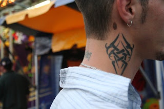 Japanese Tribal Neck Tattoo