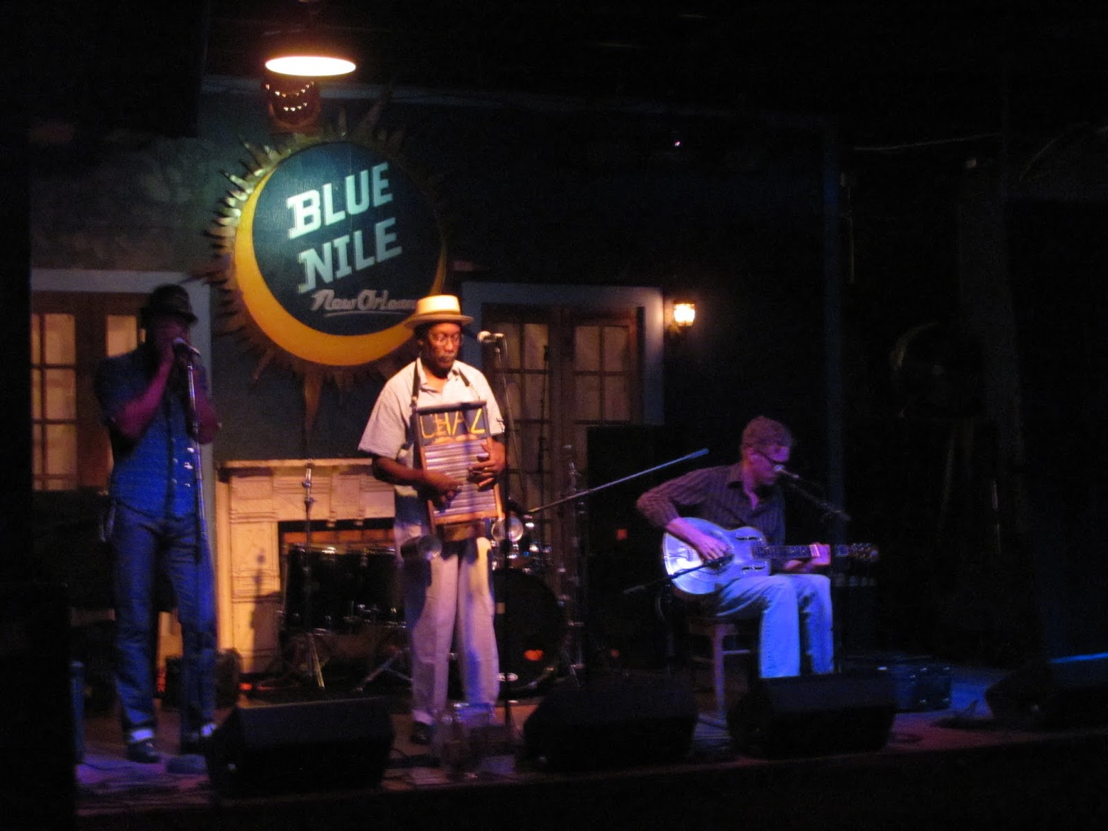 Three-piece blues band at the Blue Nile in New Orleans, LA.  Harmonica player, washboard player, guitar player.