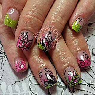 hot pink and lime nails with flowers