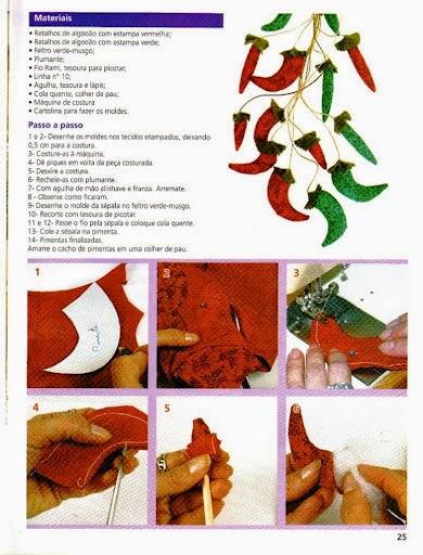 Pimentas de tecido com moldes
