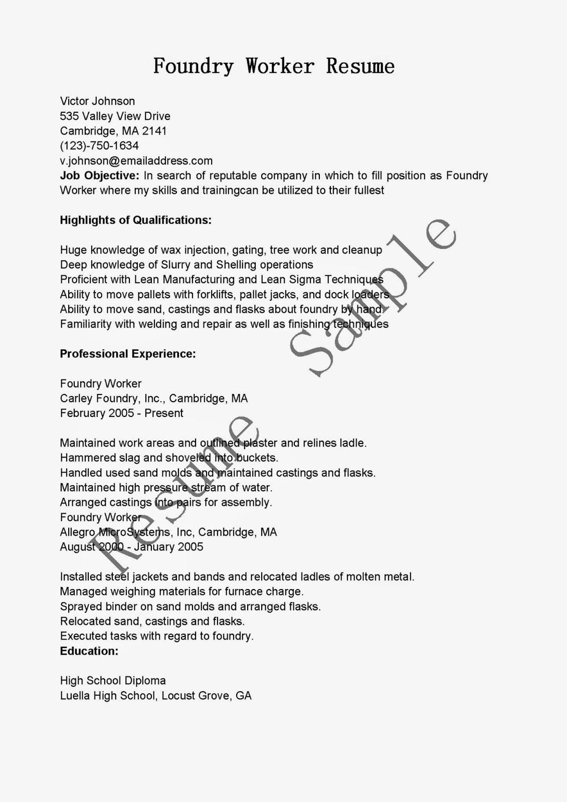 resume samples  foundry worker resume sample