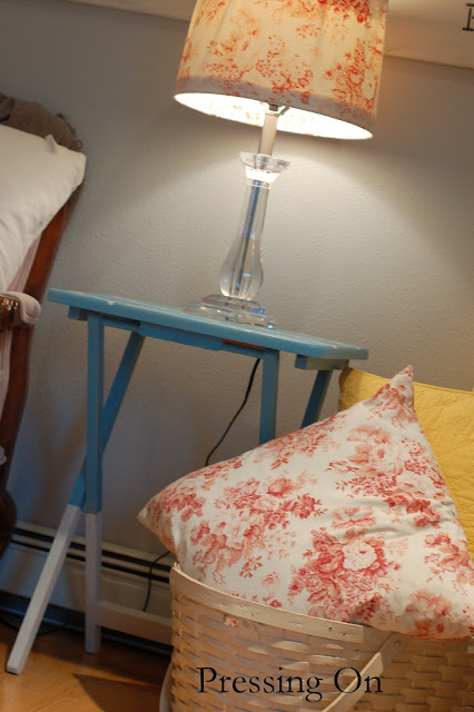 Pressing on dip dyed and stenciled side table