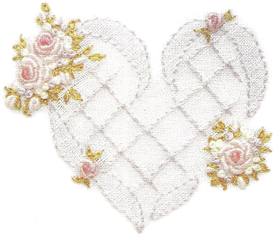 Схема выполнения сердечка украшенного розами в технике рококо