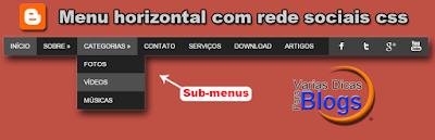 Menu horizontal com sub-menus e redes sociais para colocar no Blog