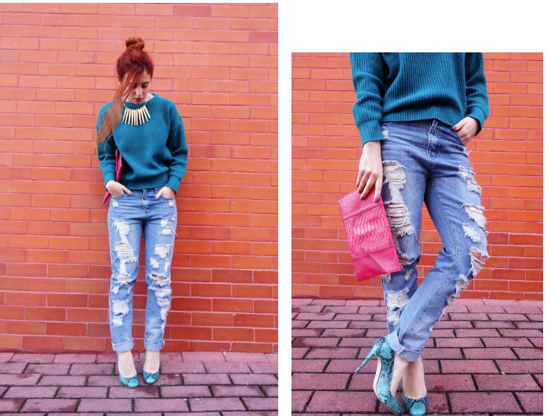 fashion blogger,, chic style, ripped jeans and snake heels