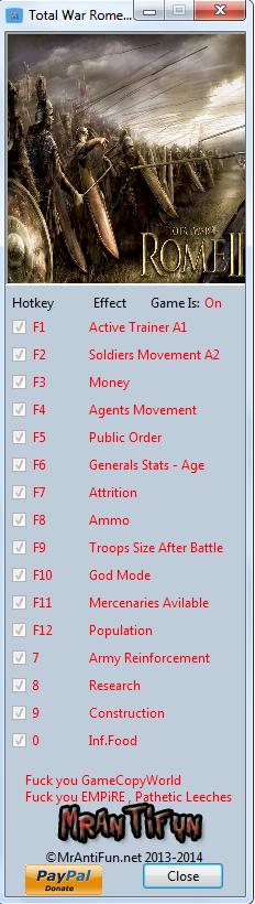 Total War Rome 2 Emperor Edition V2.0.0 Trainer +15 Build 13903 MrAntiFun
