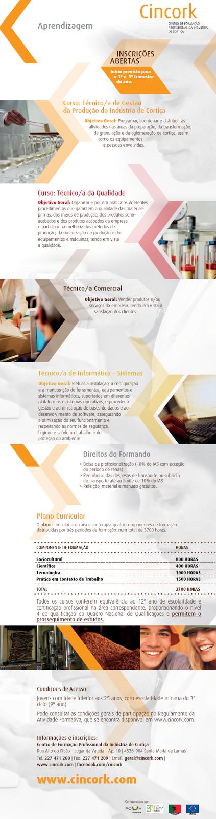 Cursos de aprendizagem co financiados para 2014 – Centro de Formação Profissional de Indústria de Cortiça (Santa Maria de Lamas)