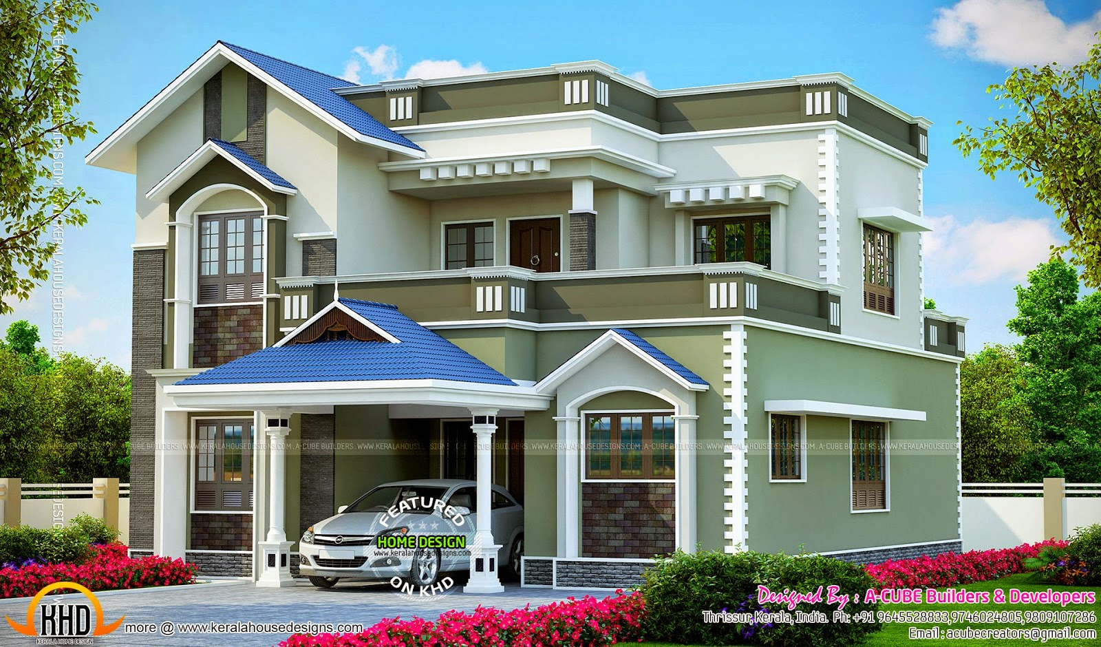 2406 square feet beautiful villa kerala home design and for Beautiful villa design