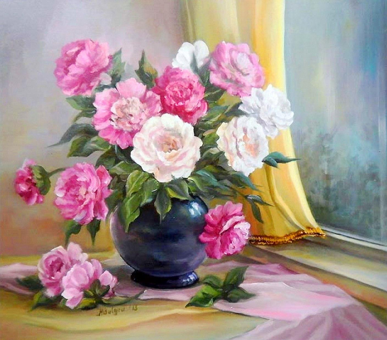 Cuadros modernos pinturas y dibujos im genes de flores - Fotos jarrones con flores ...