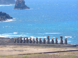 View of Ahu Tongariki from Quarry at Rano Raraku Crater, Easter Island