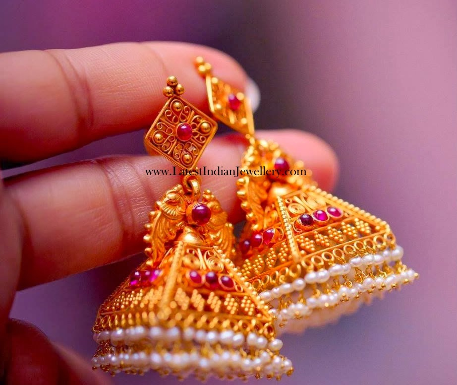 Temple Design Gold Jhumkas