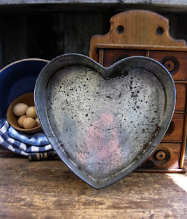 Large Early Tin Heart Cake Pan