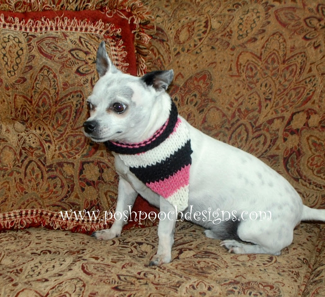 Knitting Patterns For Dog Bandanas : Posh Pooch Designs Dog Clothes: Striped Dog Bandanna Free Knitting Pattern ...