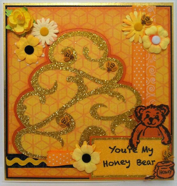 DT card for gel-a-tins (Honey Bear)  Sharon Callis Crafts