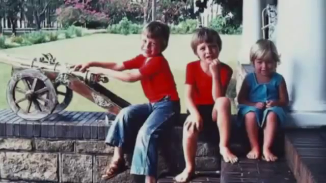 Young Elon Musk with his siblings