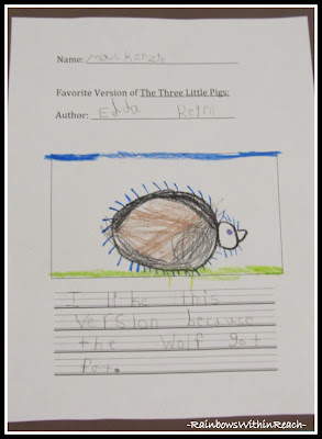 photo of: Kindergarten Writing and Drawing Comparative Choice for Three Little Pigs