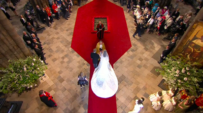 The Bride Catherine Middleton as she enters Westminster Abbey next to her father. YouTube 2011.