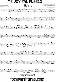 Partituras de Me Voy Pal Pueblo Bolero en Clave de  Do para Viola y otros instrumentos en Clave de Do en 3º Línea Sheet Music for Viola in C Clef Music Scores
