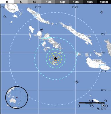 Epicentro sismo 6,6 grados en islas Salomon