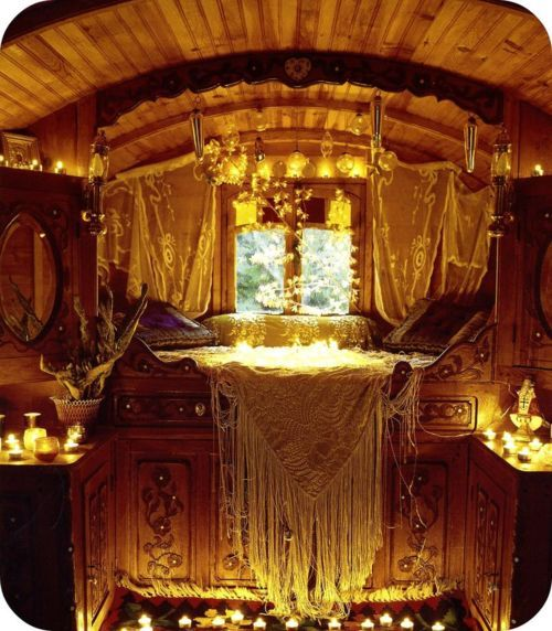 Golden Gypsy Caravan Interior. Here, The Use Of Neutral Colors And Natural  Materials (the Carved Wood And Ivory Linens) Along With The Candlelight, ...