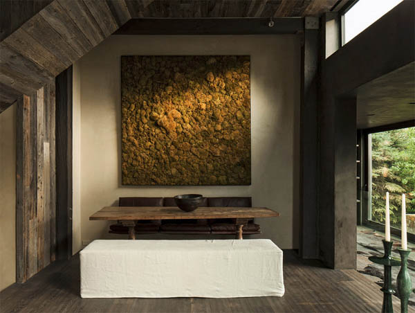 comedor minimalista y rustico con mesa madera italiana de S XVII