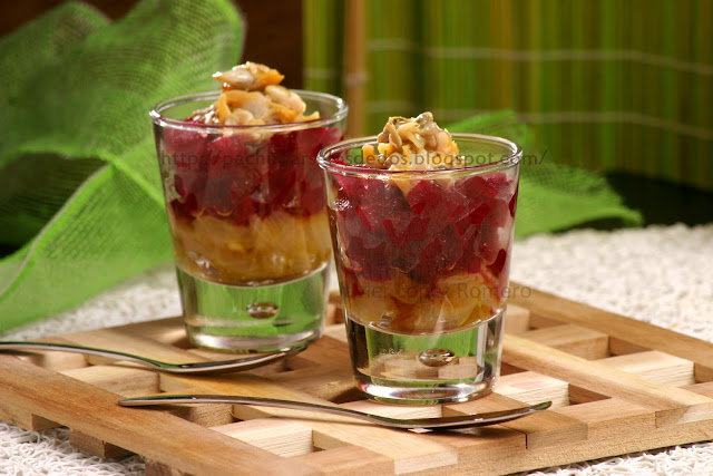 O do cocina vasitos de berberechos remolacha y cebolla for Platos faciles para sorprender