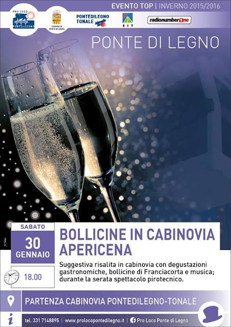 Bollicine in Cabinovia, apericena il 30 gennaio Ponte di Legno / Tonale