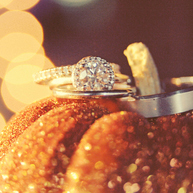 Wedding Rings and glitter pumpkin